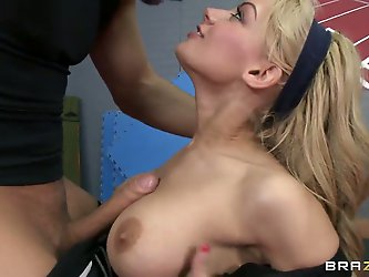 Gorgeous white-haired model Lou Lou plays...