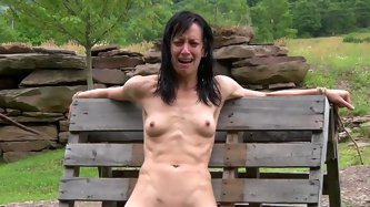 Extremely skinny brunette whore with a...