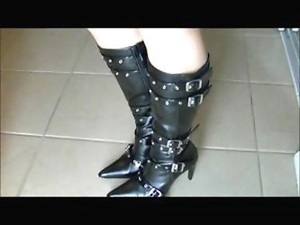 My Nut Crunching Stiletto Boots Bust His...