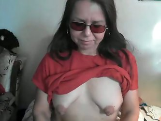 Gross granny showed me her saggy tits on...