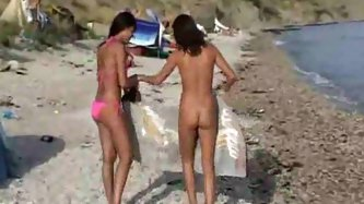Lots of ladies naked at the beach and in...