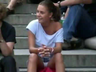 Cute Euro teen was sitting on the stairs...
