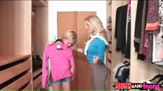 Milf lesbian seduces petite teen for hot...