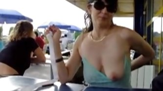 Amateur wife showing her lovely tits in a...
