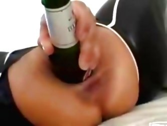 Amateur Brunette Play With Beer...