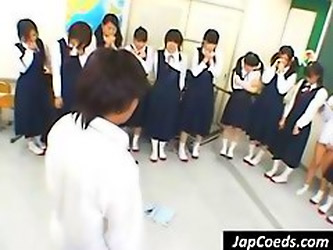 Horny Asian Teacher Lines His Students Up...