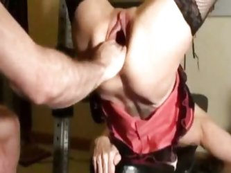 Horny milf fist fucked in her gaping cunt...