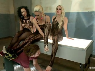 Three sexy babes get fucked and then...
