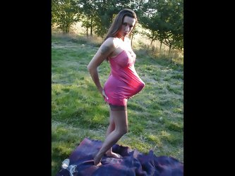 Jane outdoors in pink negligee covering...