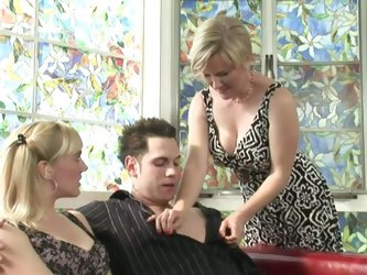 Short-haired slut starts first. She loosen...