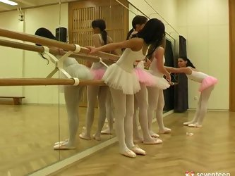 Young Euro ballerinas show off their tight...