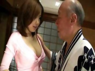 Rio Hamasaki With An Old Dude Giving Him A...
